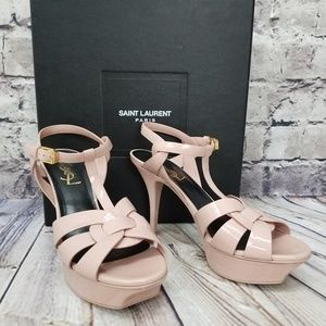 SAINT LAURENT Size 37 Pale Pink Tribute 75 Strappy
